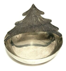 Versilberte Serving Bowl Schüssel Fuss Schale mit Baum Griff Vintage