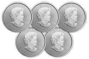 Lot of 5 - 2018 $5 1oz Canadian Silver Maple Leaf Coins .9999 Fine BU