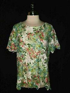 LANE BRYANT Plus Size 2X 18 Blouse Shirt Top White Pink Floral Lace Short Sleeve