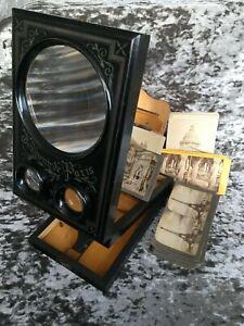 Antique Souvenir Paris Stereoscope Graphoscope Viewer 3D Photos & Postcards Set
