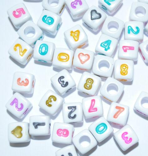 100 piezas mixtas número o letra abalorios acrílicos 6 y 7 mm * Cubo