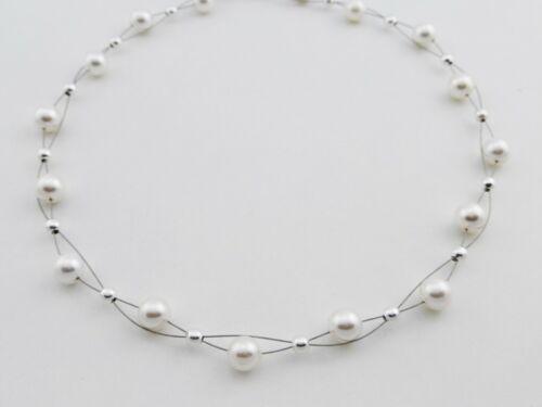 Perlen Halskette Collier weiße Damen echte 925 Silber Kugel Brautschmuck schöne