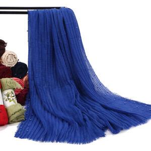 Women-039-s-Crinkle-Cotton-Hijab-Scarf-with-Beads-Scarves-Shawl-Muslim-Wraps-Muffler