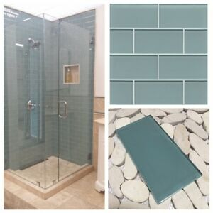 3 X6 Sea Blue Crystal Glass Subway Tile For Kitchen Bathroom