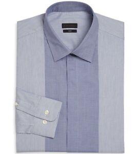 Ermenegildo-Zegna-Size-42-16-5-Slim-Fit-Blue-Check-and-Striped-Dress-Shirt