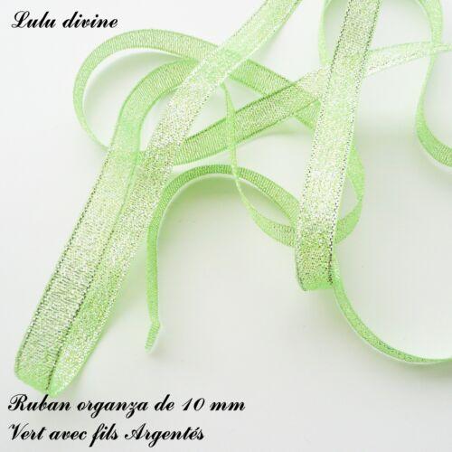 2 mètres de ruban organza pailleté de 10 mm Couleur Vert à fils Argentés