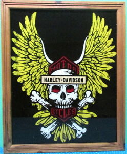 Harley-Davidson-Motorcycles-framed-reverse-painting-on-glass-large-18-034-x-22-RARE