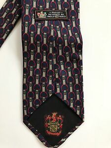 bc731f076 Vintage PAOLO GUCCI Silk Horse Stirrup Print Luxury Tie 3.75