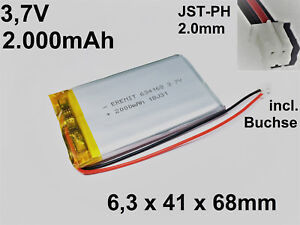 LiPo-Batterie-Akku-Lithium-Polymer-2000mAh-3-7-V-1S-JST-PH-2-0mm-634168-PCB-4