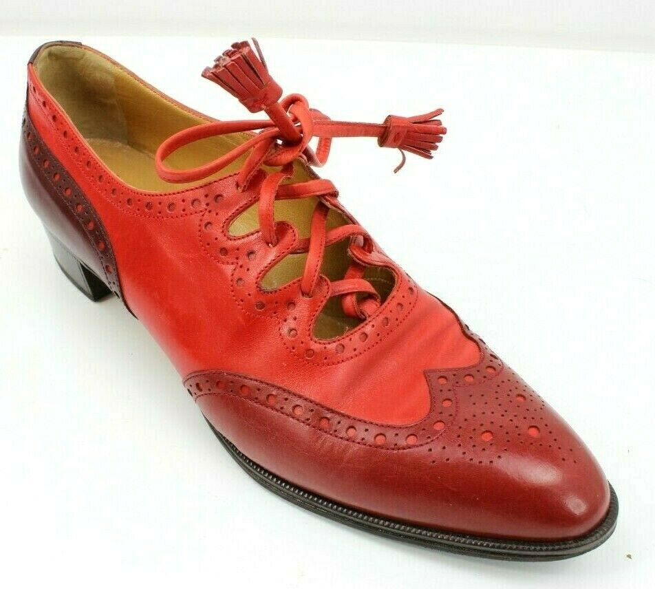 Vintage Hermes Hermes Hermes  Cat's Paw Red Wingtip Tassel Heel shoes Womens 36 Eu 6 US ca8a1a