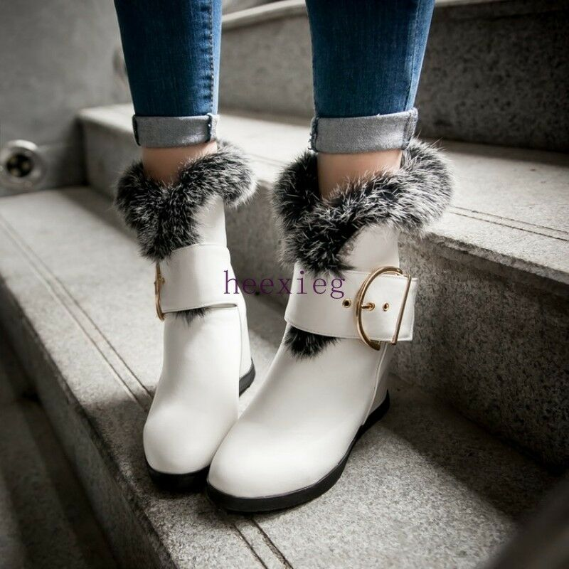 Casual Womens Fur Furry Boots Buckle Strap Hidden Wedge Heel Pu Leather shoes sz