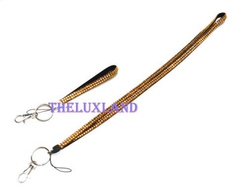 Matching Wristlet Rhinestone Bling Crystal Lanyard ID Badge Camera Holder Key
