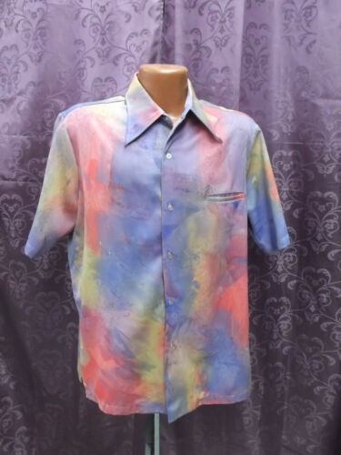 Tegaki  Colorful Mens 70s Painted Fabric Shirt