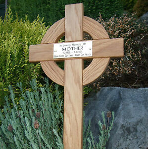 Details About 44 Inch Tall Celtic Oak Wooden Memorial Cross Wood Grave Marker Engraved Plaque