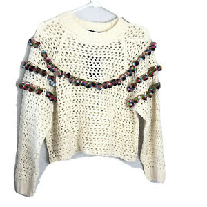 Haute-Rogue-Women-039-s-Size-Small-Pompom-Ivory-Open-Knit-Crop-Sweater-Top