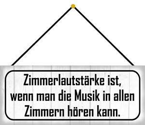 Zimmerlautstärke Music Shield with Cord Arched Tin Sign 10 X 27 CM K0193-K