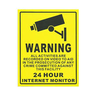 10pcs Home CCTV Surveillance Security Camera Sticker Warning Decal Signs Yellow