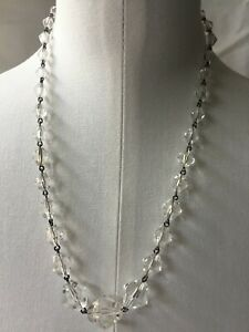 Vintage-AntiquE-1920s-30s-Hand-Faceted-BEZEL-Graduated-Crystal-Beads-Necklace