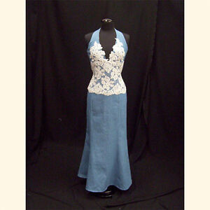 Denim And Lace Western Halter Corset And Skirt Western