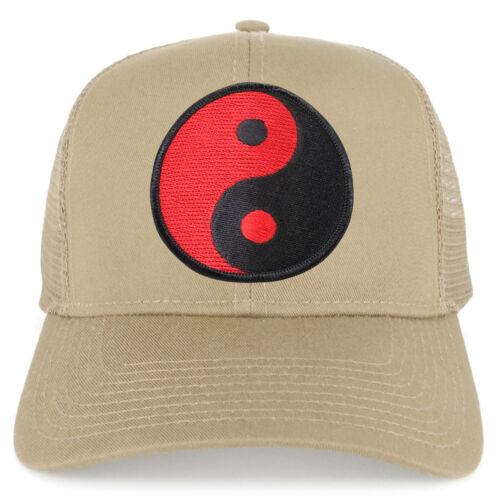 Red Yin Yang Patch Structured Mesh Trucker Cap FREE SHIPPING