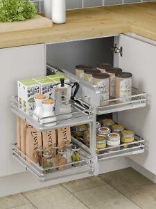 Details about Universal Blind Corner Optimiser for Kitchen Cabinets  800-1000mm Solid Base