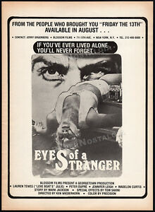 EYES-OF-A-STRANGER-Orig-1980-Trade-AD-promo-poster-LAUREN-TEWES-TOM-SAVINI