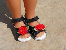 "N°7 Doll Shoes black flower red HOMEMADE FRANCE Tonner Modern 14"" Betsy McCall"