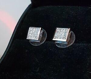 18K-1-00-Ctw-Princess-Cut-Diamond-Earrings-White-Gold-VS2-Si1-F-G-4-Grams-8-2-mm