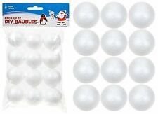 Pack Of 12 - 30mm DIY Chirstmas Baubles - White Foam Balls (PM9)