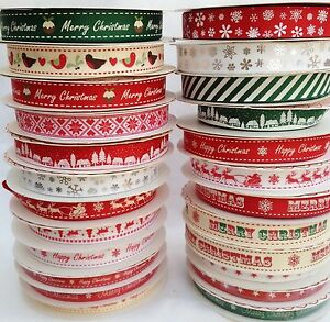 LARGE-SELECTION-STRIPES-SNOWFLAKES-HAPPY-MERRY-CHRISTMAS-RIBBONS-2-amp-3-METRES