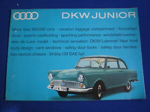 Dkw Auto Union Junior Uk Brochure C1962 Ebay