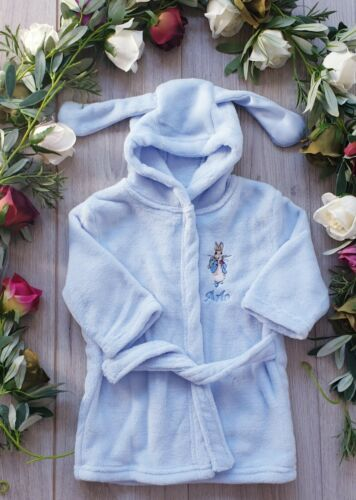 PETER RABBIT BLUE  COSY  DRESSING GOWN ROBE  WITH BUNNY EARS SOFT FLUFFY FLEECE