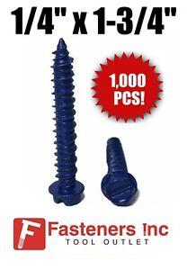 """1000 1//4/"""" X 2-3//4/"""" Concrete Masonry Screw Anchors Tapcon Hex Head"""