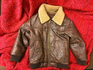 6710ab5b4 Baby Gap Boys Brown Faux Leather Sherpa Bomber Jacket Sz 4 years