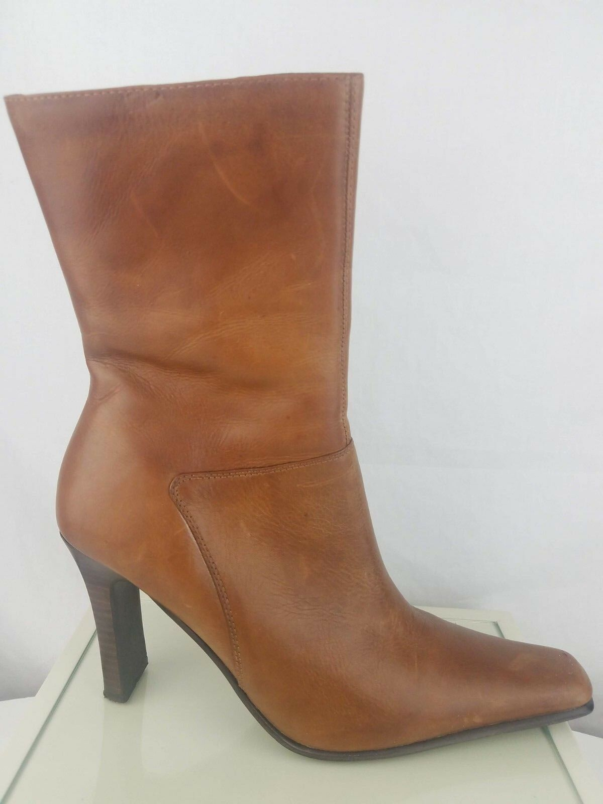 Steve Madden Joesie Brown Leather Zip High Heel Tall Ankle Boots Womens 9.5B