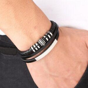 Herren-Armband-Leder-Edelstahl-Magnetverschluss