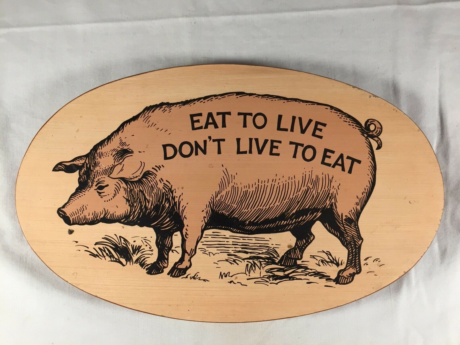 Vintage Eat To Live Don't Live To Eat Wood Wall Hanging Yorkcraft Pig Farmhouse
