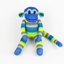 Blue Green Striped Traditional Sock Monkey Stuffed Animals Doll Boy Baby Toys