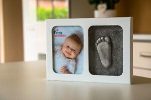 Handabdruck-Fussabdruck-Baby-Formschaum-Bilderrahmen-MIT-GIPS-Little-Memories