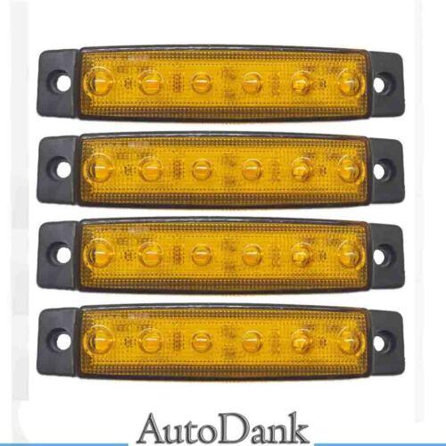 4 x 6 LED 24V orangefarben Seitenmarkierungsleuchten Leuchte Anhänger LKW LKW