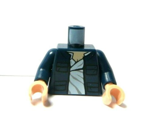 Lego 1 Flesh Minifigure  Body Torso Dark Blue Jacket /& Shirt Star Wars Han Solo