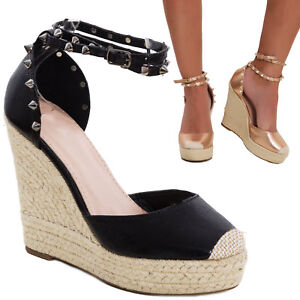 5829b4984908 Women s shoes rope wedge sandals big wedges strap elegant studs L22 ...