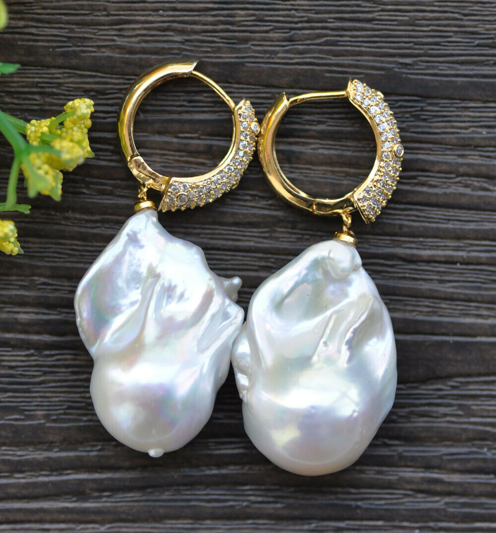 P7690 QQ A++ 30mm Baroque Keshi Reborn Pearl Dangle Earring CZ