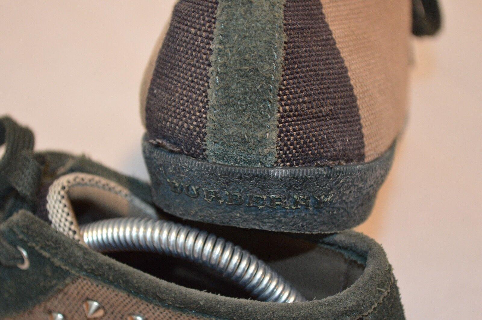 BURBERRY cnhuabadodon Marron Carreaux Toile Argent Clous Clous Clous Baskets Pour Femme EU 39 UK 6 53d00f