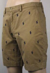 Polo-Ralph-Lauren-Khaki-Tan-Classic-Fit-9-034-Chino-Shorts-Multi-Ponies-NWT