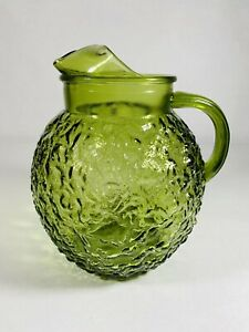 Vintage-60s-Anchor-Hocking-Green-Textured-Glass-Ball-Bubble-Pitcher-9-034-Lido-EUC