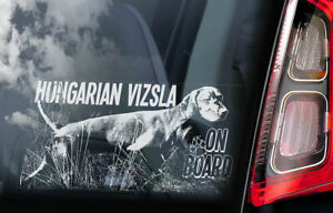 Vizsla-On-Board-Auto-Finestrino-Adesivo-Ungherese-Pointer-Cane-Firmare-V04