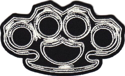 BLACK w//WHITE-Iron On Patch//Biker,Goth,Retro,Boho,Enforcer,Emblem,Vest KNUCKLES