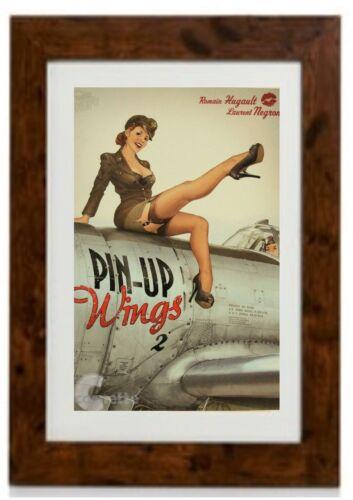 PIN UP Girl World War 2 Vintage   Framed Print Art Deco