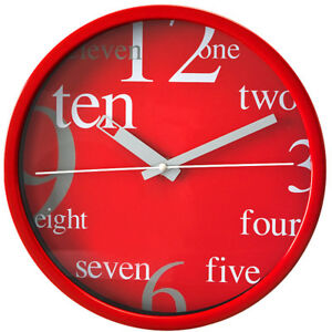 Round-Wall-Clock-PERFECT-Red-Case-Dial-Extraordinary-Design